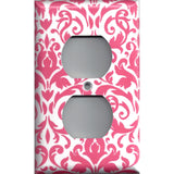 Wall Outlet Plate Cover in Blush Pink & White Floral Damask Handmade- Simply Chic Gal