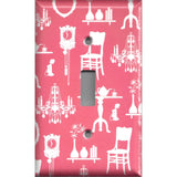 Single Toggle Light Switch Cover in Pink & White French Decor Furniture- Simply Chic Gal- Handmade
