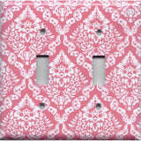 Double Toggle Light Switch Plate Cover in Rose Pink & White Intricate Damask- Simply Chic Gal
