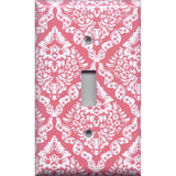 Single Toggle Light Switch Cover in Rose Pink & White Intricate Damask- Simply Chic Gal