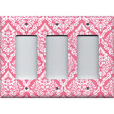 Triple Rocker Decora Light Switch Cover in Rose Pink & White Intricate Damask Print