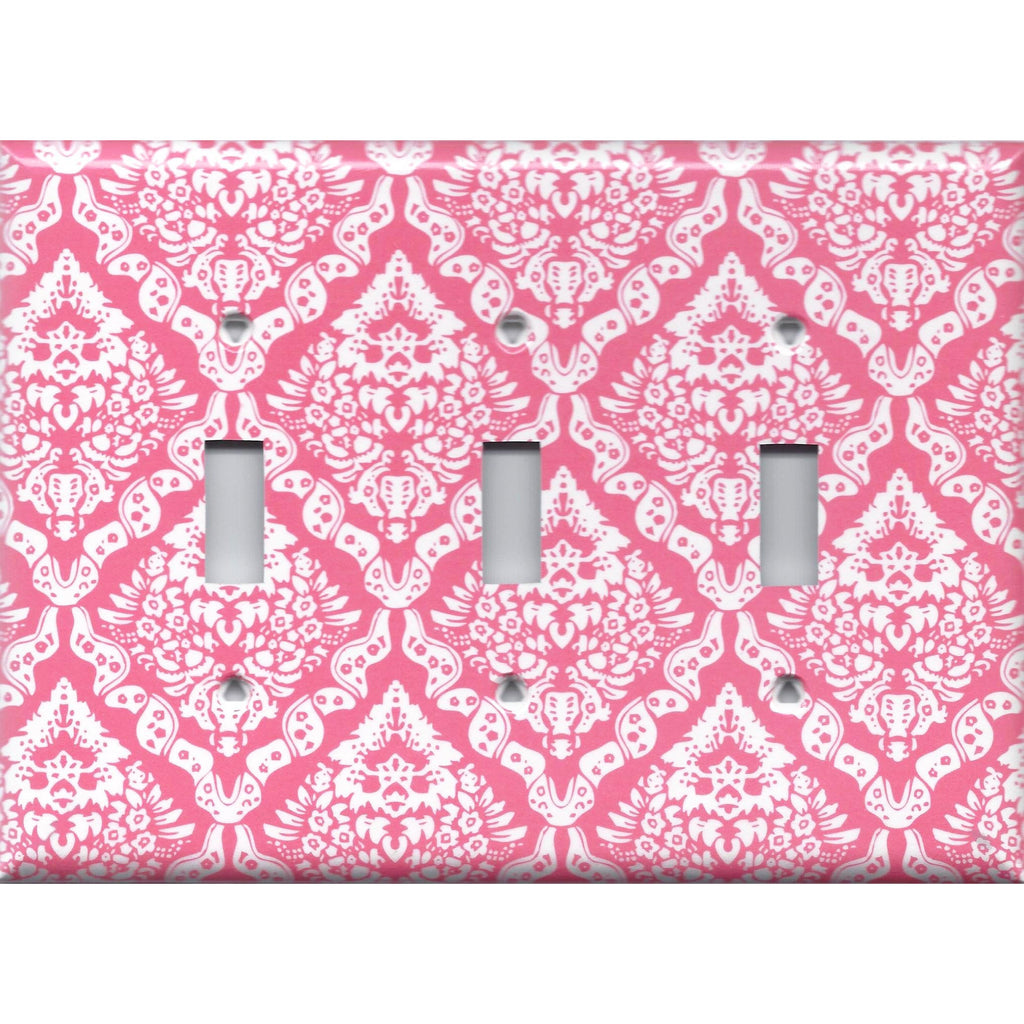 Triple Light Switch Plate in Rose Pink & White Intricate Damask Print