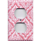 Wall Outlet Cover in Rose Pink & White Intricate Damask- Simply Chic Gal
