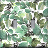 Double Toggle Light Switch Cover in Green Watercolor Botanical Leaves Print