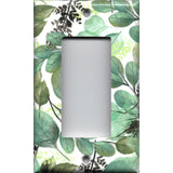 Single Rocker Decora GFI Outlet Cover in Green Watercolor Botanical Leaves Print