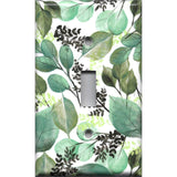 Single Toggle Light Switch Cover in Green Watercolor Botanical Leaves Print