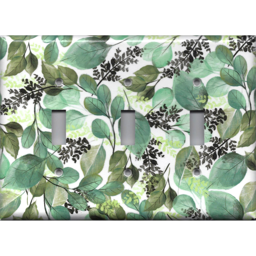 Triple Toggle Light Switch Cover in Green Watercolor Botanical Leaves Print