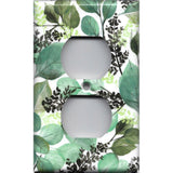 Wall Outlet Plate Cover in Green Watercolor Botanical Leaves Print