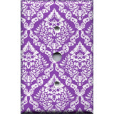 Cable Jack Cover in Bright Purple Violet & White Intricate Damask Floral