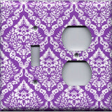 Combo Light Switch and Outlet Cover in Bright Purple Violet & White Intricate Damask Floral