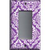 Single Rocker Cover in Bright Purple Violet & White Intricate Damask Floral