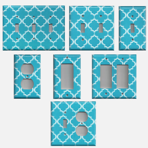 Bright Blue and White Quatrefoil Handmade Light Switch Plates & Outlet Covers- Simply Chic Gal