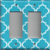 Double Rocker Decora Light Switch in Bright Blue and White Quatrefoil Handmade- Simply Chic Gal