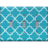 Triple Light Switch Cover in Bright Blue and White Quatrefoil Handmade- Simply Chic Gal