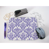 Bright Purple and White Damask Mouse Pad High Quality Office Desk Decor
