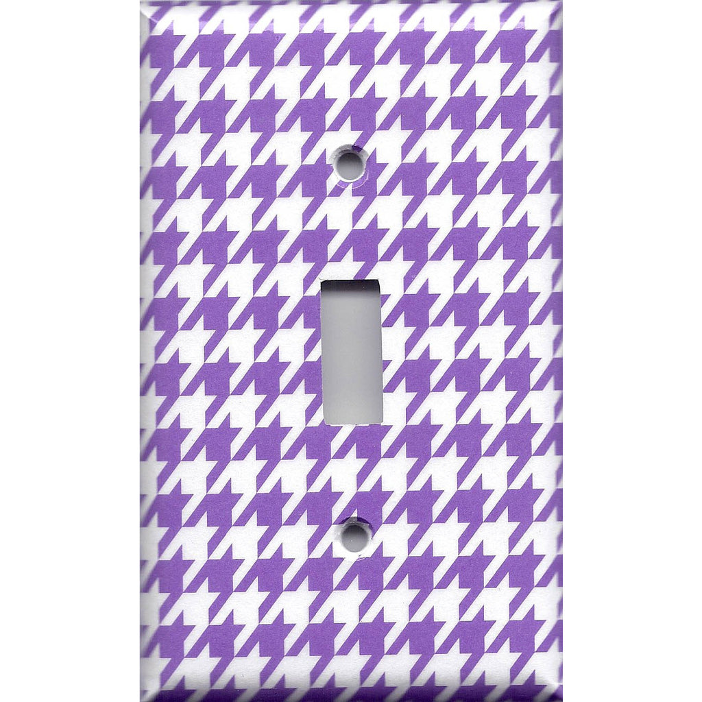 Single Toggle Light Switch Cover in Bright Purple & White Houndstooth- Simply Chic Gal