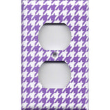 Wall Outlet Cover in Bright Purple & White Houndstooth- Simply Chic Gal