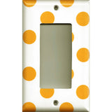 Single Rocker Decora GFI Outlet Cover in Tangerine Orange Polka Dots Handmade- Simply Chic Gal
