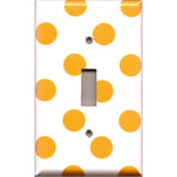Single Toggle Light Switch Plate Cover in Tangerine Orange Polka Dots Handmade- Simply Chic Gal