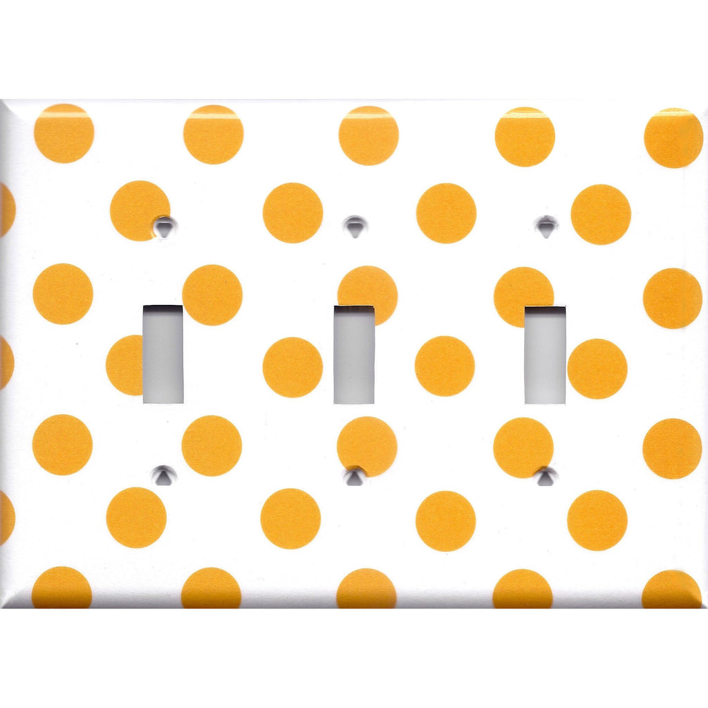 Tangerine Orange Polka Dots Light Switch Covers Wall Outlet Covers