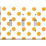 Triple Toggle Light Switch Cover in Tangerine Orange Polka Dots Handmade- Simply Chic Gal