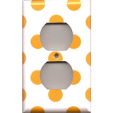 Wall Outlet Cover in Tangerine Orange Polka Dots Handmade- Simply Chic Gal