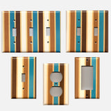 Brown Cream Caramel & Blue Stripes Handmade Light Switch Plates & Outlet Covers- Simply Chic Gal