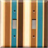Double Toggle Light Switch Plate in Brown Cream Caramel & Blue Stripes Handmade- Simply Chic Gal