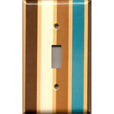 Single Light Switch Plate Cover in in Brown Cream Caramel & Blue Stripes Handmade- Simply Chic Gal