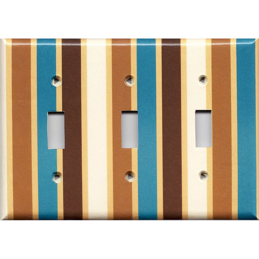 Triple Toggle Light Switch Cover in Brown Cream Caramel & Blue Stripes Handmade- Simply Chic Gal