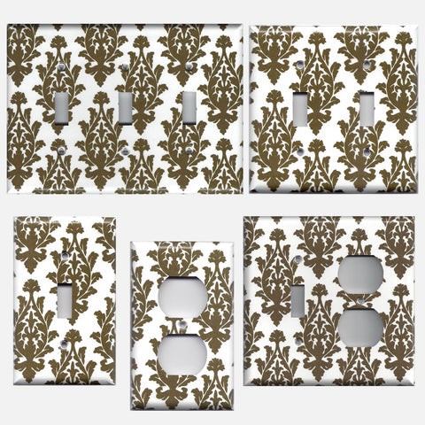 Dark Brown & Off White Damask/Brocade Light Switch Plates & Outlet Covers - Simply Chic Gal