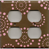 4 Plug Outlet Cover in Brown & Pink Starburst Dots Handmade- Simply Chic Gal