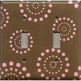 Double Toggle Light Switch Plate in Brown & Pink Starburst Dots Handmade- Simply Chic Gal
