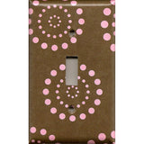 Single Toggle Light Switch Plate in Brown & Pink Starburst Dots Handmade- Simply Chic Gal