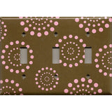 Triple Toggle Light Switch Plate in Brown & Pink Starburst Dots Handmade- Simply Chic Gal