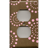 Wall Outlet Cover in Brown & Pink Starburst Dots Handmade- Simply Chic Gal