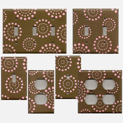 Brown and Light Pink Starburst Retro Dots Fireworks Light Switch Plates and Wall Outlet Covers
