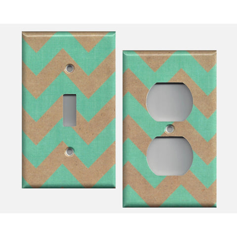 Kraft Paper Brown & Teal Chevron Decorative Handmade Light Switch, Outlet Covers- Simply Chic Gal