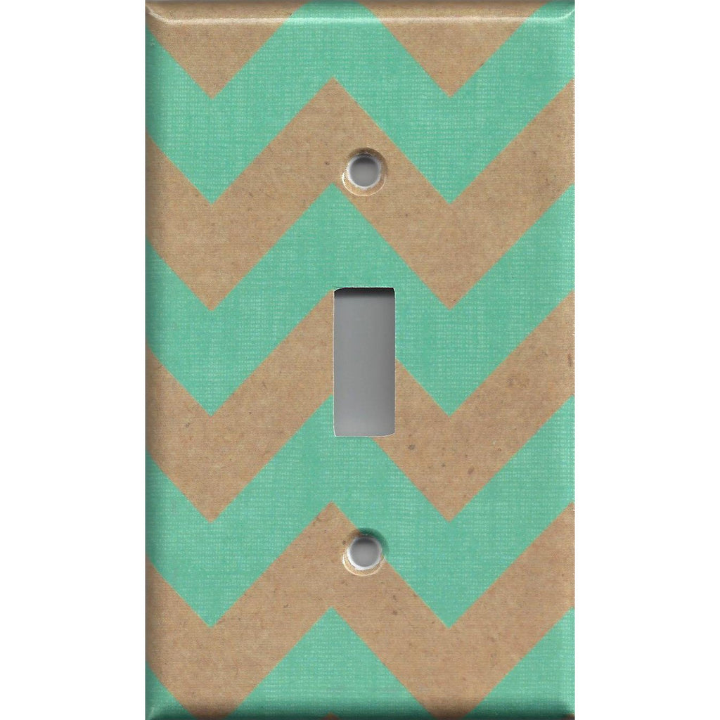 Single Light Switch Cover in Kraft Paper Brown & Teal Chevron Decorative Handmade- Simply Chic Gal