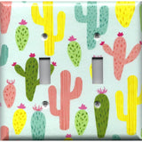 Double Toggle Light Switch Cover in Southwest Desert Cactus Succulents Print