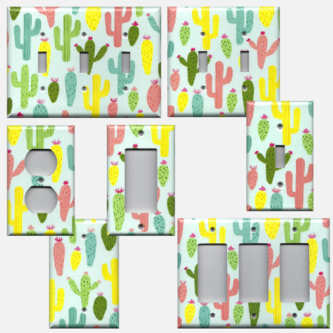 Colorful Southwest Desert Cactus Succulents Light Switch Plates & Wall Outlet Covers