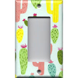 Single Rocker Decora GFI Outlet Cover in Southwest Desert Cactus Succulents Print