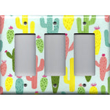 Triple Rocker Decora Light Switch Cover in Southwest Desert Cactus Succulents Print