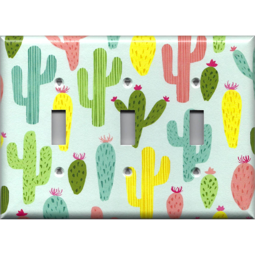 Triple Toggle Light Switch Plate in Southwest Desert Cactus Succulents Print