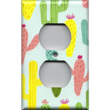 Wall Outlet Cover in Southwest Desert Cactus Succulents Handmade- Simply Chic Gal