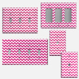 Hot Pink Chevron Zig Zag Print Light Hand Made Light Switchplates Outlet Covers - Simply Chic Gal