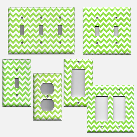 Lime Green Chevron Print Light Switch Plates & Wall Outlet Covers