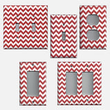 Crimson Red Burgundy Chevron Print Light Switch Plates and Outlet Covers