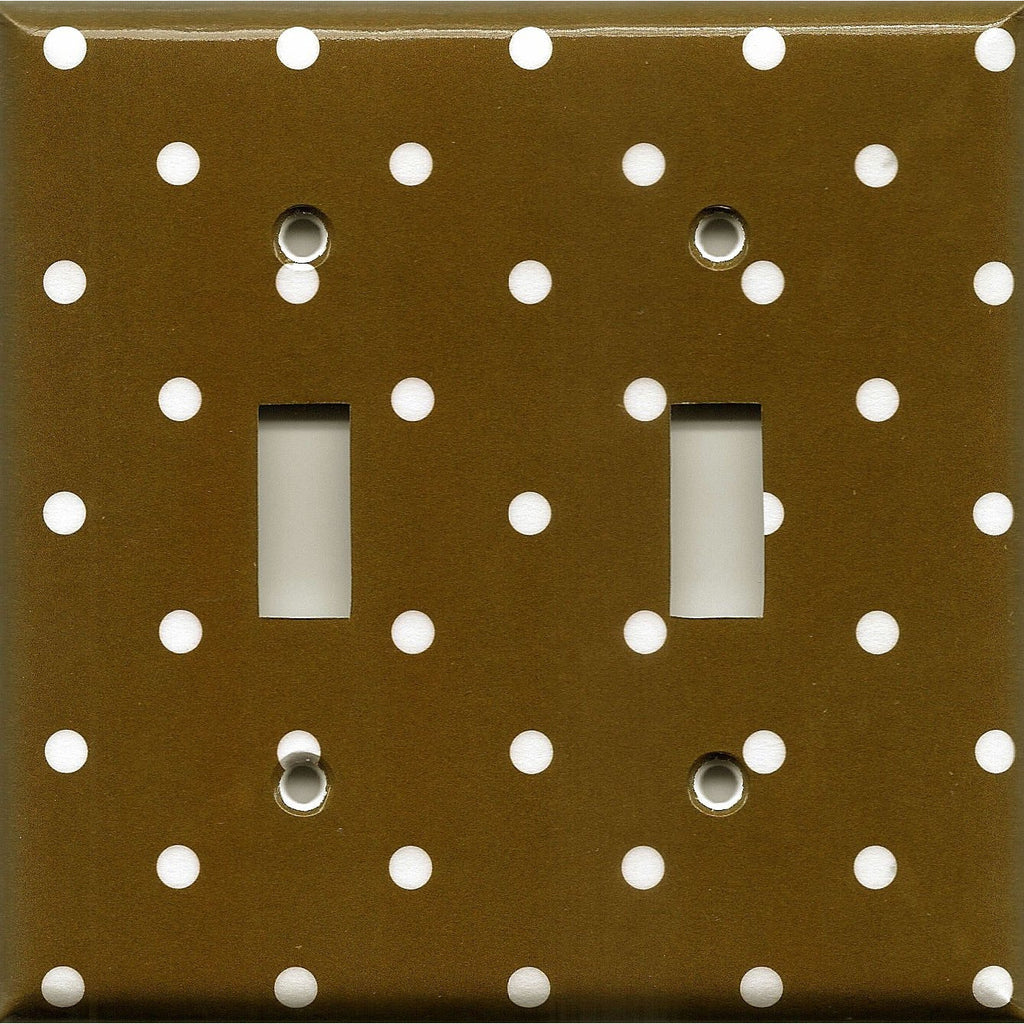 Chocolate Brown White Polka Dots Light Switch Plates Outlet Covers