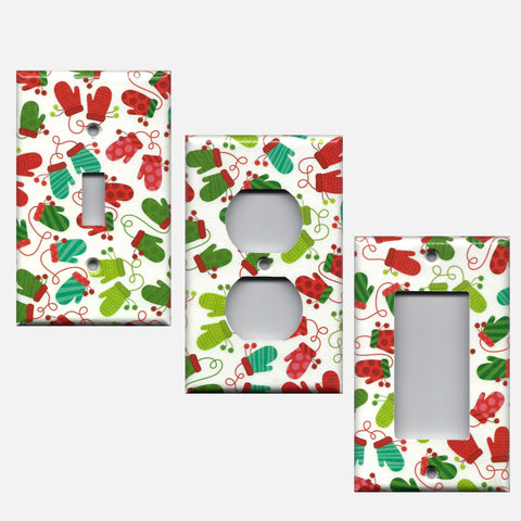 Red & Green Christmas Mittens Light Switch Plate & Outlet Covers
